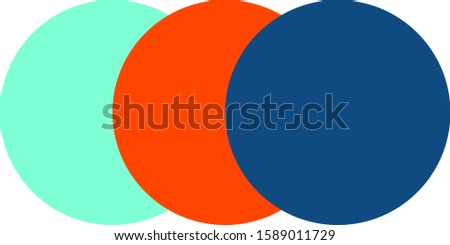 Three popular colors in 2020. Three circles with polytre of popular trend colors on a white background. Isolated Stock photo ©