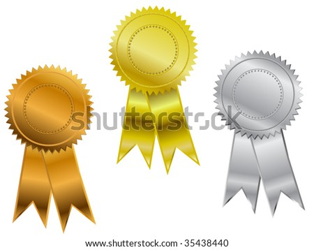 Three position ribbons -gold, silver and bronze