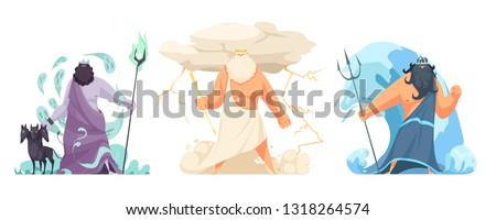 Three powerful ancient greek brothers gods horizontal set with hades zeus and poseidon cartoon isolated vector illustration