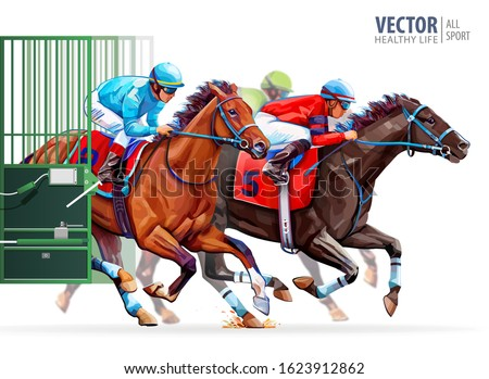three racing horses competing