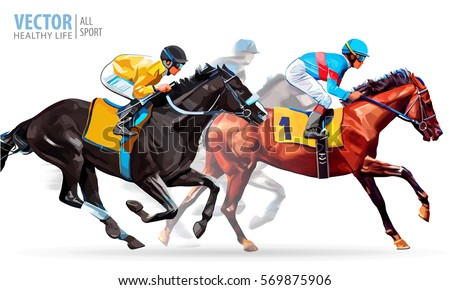 Three racing horses competing with each other, with motion blur to accent speed. Vector illustration.