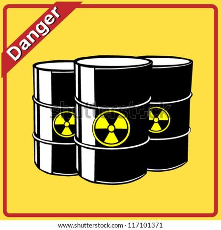 Three radioactive barrels.