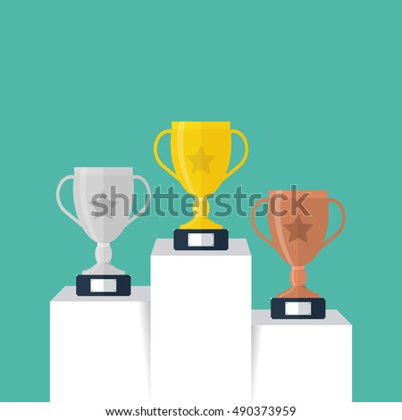Three ranking winner cup standing on the winning podium. Winning trophy. Vector illustration of successful work.