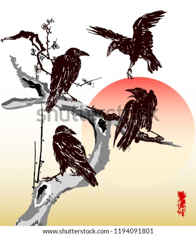 three ravens on a branch  and