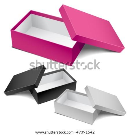Three realistic empty boxes. Editable vector.