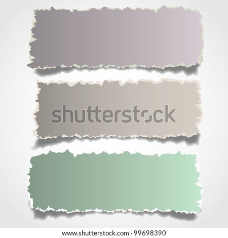 Three realistic torn paper banners.Vector eps10