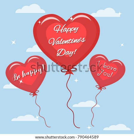 Three red balloon with the text of congratulations on Valentine's Day flies in the sky. Vector, flat style. #790464589