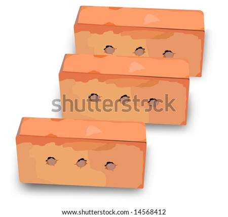 Three red bricks for construction of house and other building, illustration