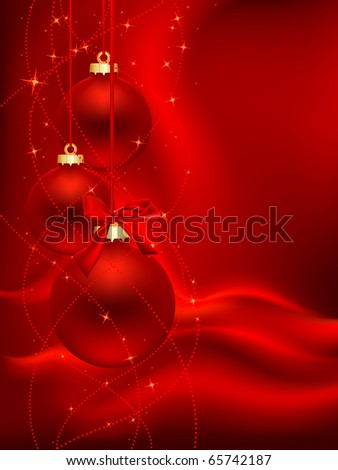 three red christmas ball on red satin background