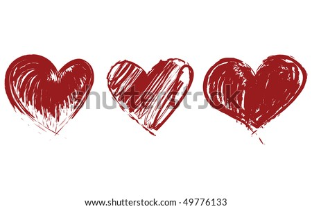 Three Red Hearts Vector. Valentine Day Icons.