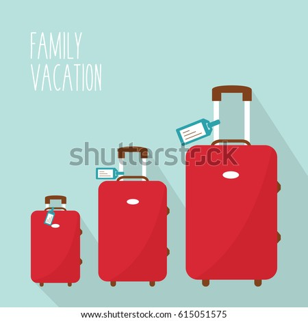 three red modern suitcase vector. 3 luggage family in vacation. mom, dad & daughter or son. one big baggage & two little from smallest to largest or biggest in holiday & tag name Travel flat design.