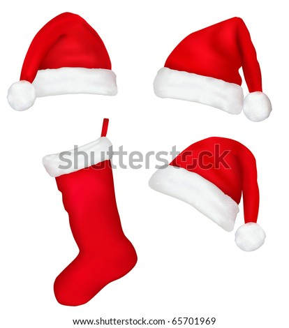 Three red santa hats and christmas stocking. Vector illustration.