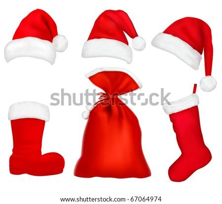 Three red santa hats. Christmas stocking and boot and bag. Vector illustration.