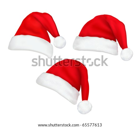 Three red santa hats Vector.