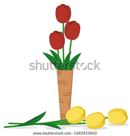 three red tulips placed in a