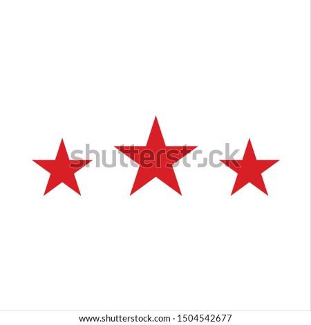 three red vector stars