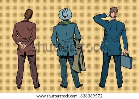 three retro businessman