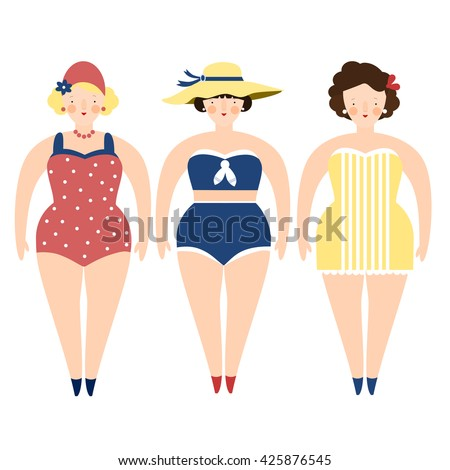 three retro ladies in swimming...