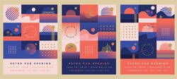 Three retro summer flyer templates in coral orange, blue and golden color palette with sunsets, seagulls, yachts and palm trees