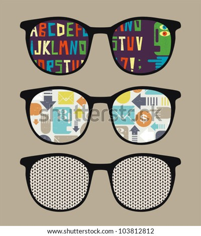 Three retro sunglasses with alphabet reflection in it. Vector illustration of accessory - eyeglasses isolated.