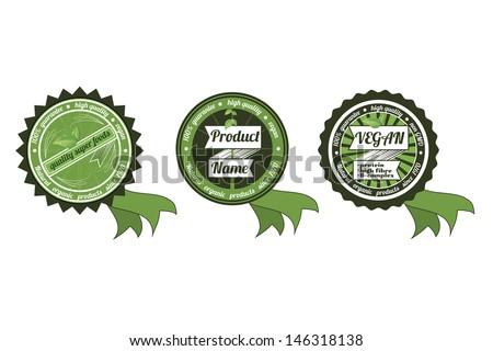 Three retro vector organic/non gmo/ECO badges, with ribbon