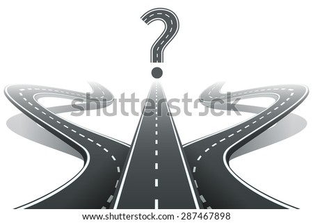 three roads and question mark