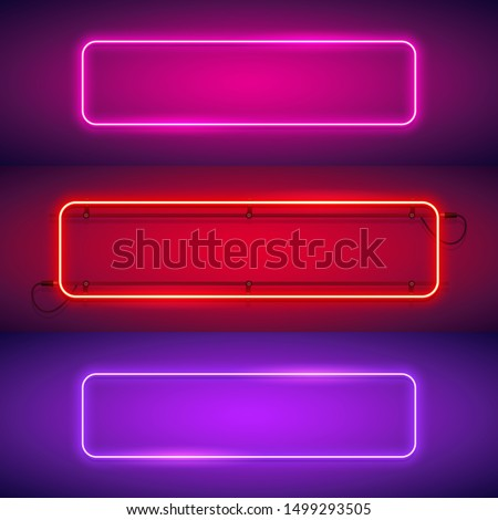 Three rounded rectangular neon frames set makes it quick and easy to customize your projects in retro style.