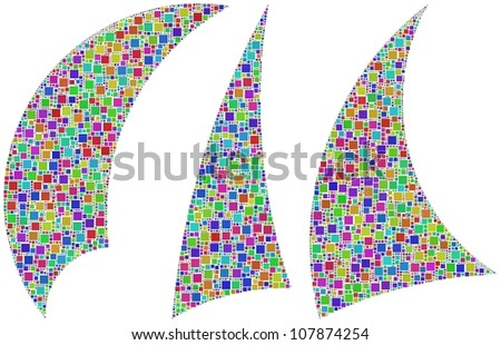 Three sails outline in a mosaic of harlequin squares