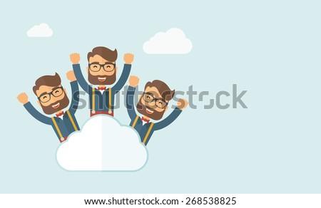 three same face businessmen on