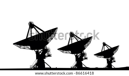 Three satellite dishes silhouette vector image
