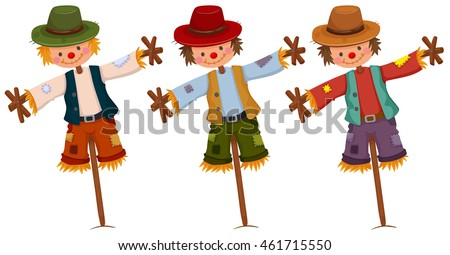 three scarecrows on wooden