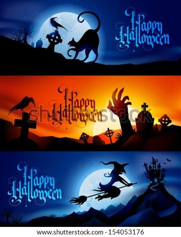 three scary vector halloween