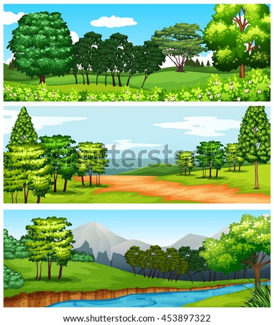 Three scenes of forest and fields illustration