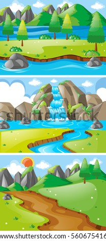 three scenes with waterfall and