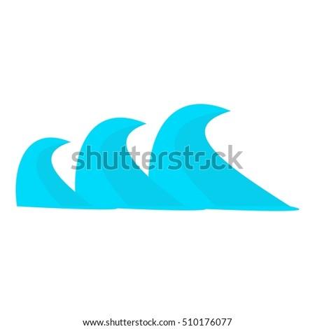 three sea waves icon cartoon