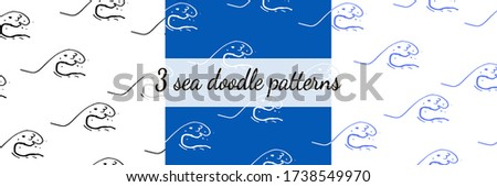 three seamless sea wave storm