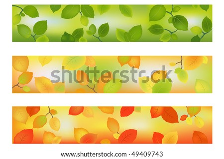 Three Season Banners or Backgrounds with leaves for design.