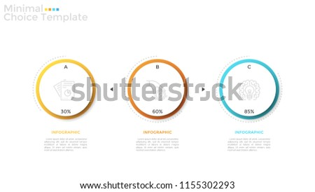 Three separate paper white circular elements with linear icons and percentage indication inside. Concept of 3 project completion stages visualization. Infographic design template. Vector illustration.