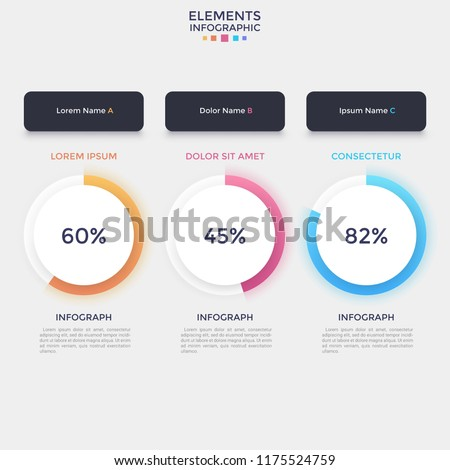 Three separate paper white round elements with percentage indication and progress bar, place for heading and text. Modern infographic design template. Vector illustration for website or web interface.