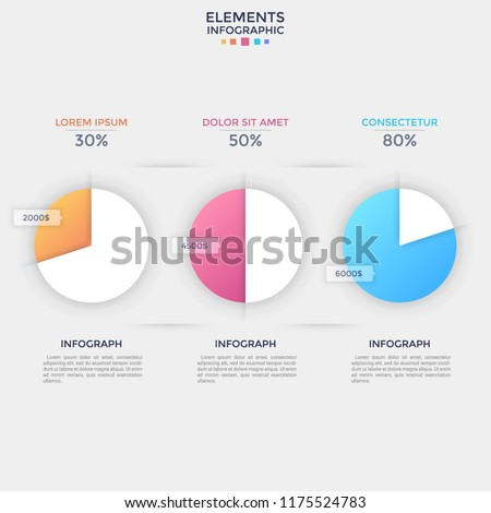 Three separate pie charts with percentage and revenue indication, place for heading and text. Concept of financial data visualization. Flat infographic design template. Vector illustration for report.