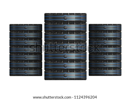 Three server racks with equipment, data center icon, on white background, EPS 10 contains transparency.