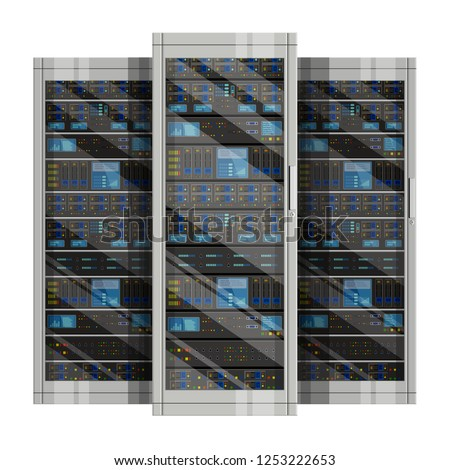 Three server racks with equipment, data center  on white background ,Illustration of network server, flat design. EPS 10 contains transparency