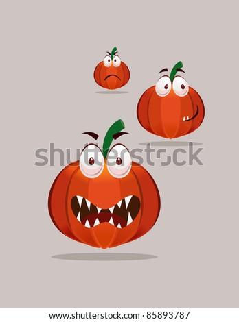 three set halloween pumpkin faces