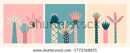 Three sets of abstract Palms. Short and tall trees. Different interpretations of wood and leaves. Hand drawn colorful Vector Trendy illustrations. Cartoon style, Flat design. Set of three cards