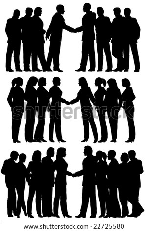 Three sets of editable vector silhouettes of business groups meeting with each person as a separate element
