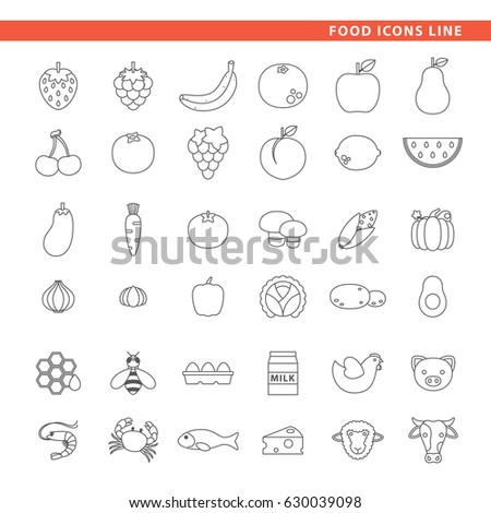 Three sets of icons, fruits, vegetables and animal source ingredients in line style.