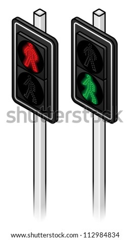 Three sets of LED pedestrian traffic lights showing walk and don't walk.
