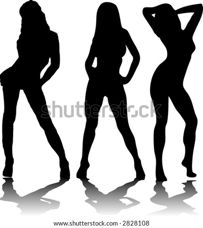 stock vector : Three sexy women in black silhouette on a white  background