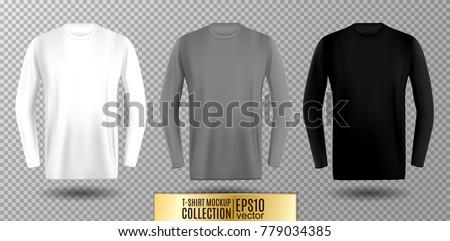 Three shades of white, gray and black long sleeve t-shirt. Vector mock up.