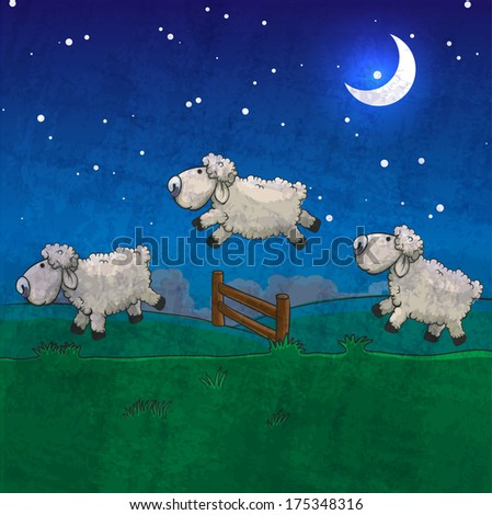 three sheep  jumping over the
